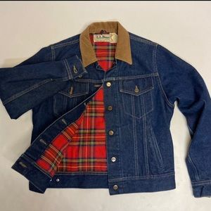 Flannel Lined Jean Jacket with Corduroy Collar